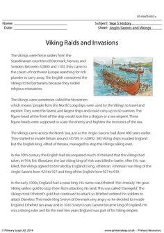 PrimaryLeap.co.uk - Viking Raids and Invasions - Reading comprehension Worksheet