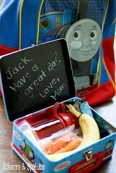 Paint inside of lunch box with chalkboard paint - leave a new message every day.  Love this so much more than the paper notes!