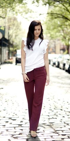 Add a a little wine to your look with our deep red straight legged menswear inspired trousers. Pair this flattering pants with a soft ruffled feminine top and classic sandals | Banana Republic
