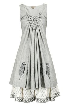 Grey bird embroidered bubble dress available only at Pernia's Pop-Up Shop.