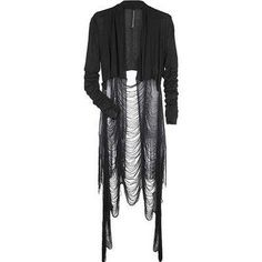 Destroyed long layering cardigan #style #black #goth