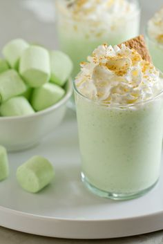 Key Lime Milkshakes are loaded with vanilla ice cream, key lime juice and Campfire® Key Lime Mallow Bursts.
