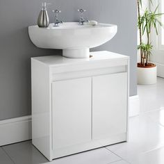 Homesavers | Norsk High Gloss Under Sink Cabinet Bathroom Sink Storage, Open Bathroom, Under Sink Storage, Bathroom Cabinets, Bathroom Furniture, Glass Vessel Sinks, Glass Vanity, Vessel Sink Bathroom, Glass Bathroom