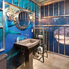 Diy beach bathroom ideas under the sea bathroom decor fascinating ocean bathroom decor related post from . Shark Bathroom, Ocean Bathroom Decor, Bathroom Decor Pictures, Bathroom Gallery, Nautical Bathrooms, Beach Bathrooms, Bathroom Kids, Office Bathroom, Pirate Bathroom