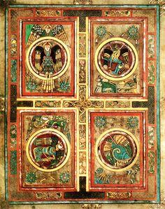 """Les Quatre Évangélistes - Le tétramorphe, ou les """"quatre êtres vivants"""", représente les quatre animaux ailés tirant le char de la vision d'Ézéchiel, Livre d'Ézéchiel 1; 1-14. Plus tard, les Pères de l'Église y ont vu l'emblème des Quatre Évangélistes : le lion pour Marc, le taureau pour Luc, l'homme pour Matthieu & l'aigle pour Jean. Ils accompagnent souvent les représentations du Christ en majesté."""