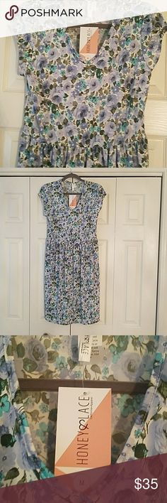 Honey and Lace Los Osos NWT Shades of blue Los Osos from Honey and Lace. Sister company of Lularoe. This runs true to size and was a bit too small on me! So very comfy and feminine. Perfect for casual summer day or dress up for that perfect wedding! Honey and Lace Dresses