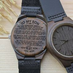 Engraved Wooden Watch - Great Gift For Your Son! From Mom - Forever Love Gifts Simple Gifts, Easy Gifts, Creative Gifts, Unique Gifts, Great Gifts For Wife, Gifts For Husband, Love Gifts, Thing 1, Anniversary Gifts For Him