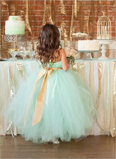 60 Sweet Flower Girl Dresses Mint Wedding Ideas - Mint Flower Girl Dress with Gold Ribbon Cute Flower Girl Dresses, Girls Tutu Dresses, Flower Girl Tutu, Tutus For Girls, Flower Girls, Dresses Dresses, Junior Dresses, Blue Dresses, Formal Dresses