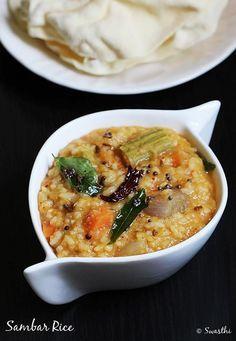 sambar sadam or sadam rice is one of the everyday foods from tamil cuisine. Rice is simmered in mixed vegetable sambar to get a wonderfully delicious dish.