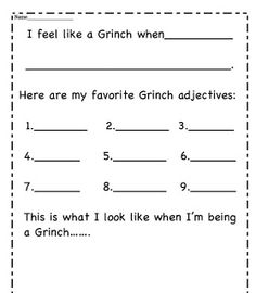 second grade fun how the grinch stole christmas - How The Grinch Stole Christmas Activities