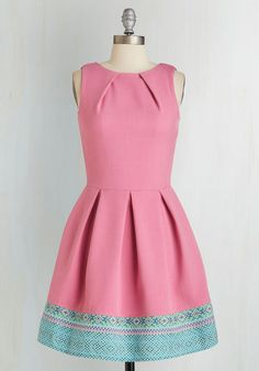 Luck Be a Lady Dress in Pink and Tapestry by Closet - Modcloth