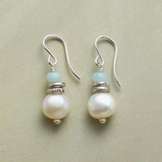 """SERENITY PEARL EARRINGS: Our handmade Serenity Pearl Earrings display soothe-the-soul stacks of amazonite, sterling silver beads and uniquely irregular cultured pearls. Sundance exclusive handcrafted in USA with sterling silver French wires. 1-1/4""""L"""