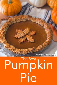 From Preppy Kitchen, this classic pumpkin pie recipe gets an update with a spiced pastry crust, a sprinkle of orange zest, and a dash of rum. Sugar Free Pumpkin Pie, Low Carb Pumpkin Pie, Easy Pumpkin Pie, Vegan Pumpkin Pie, Pumpkin Pie Bars, Homemade Pumpkin Pie, Pumpkin Pie Recipes, Pumpkin Dessert, Pumpkin Pie Crust Recipe