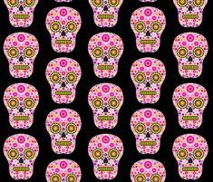 Pink Mexican Sugar Skull Pattern fabric by hippygiftshop on Spoonflower - custom fabric