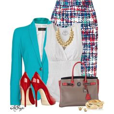 """Bright Office Style"" by kginger on Polyvore"