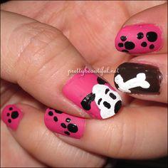 puppy dog nails :) Morgan wants! Dog Nail Art, Animal Nail Art, Finger Nail Art, Wow Nails, Cute Nails, Pretty Nails, Fabulous Nails, Gorgeous Nails, Nails For Kids