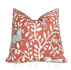 """Dwell Studio Pantheon Folk Art Animals Forest Persimmon Orange Ivory Decorative Throw Pillow Cushion Cover Case Invisible Zipper 18"""" 20"""" 22"""""""