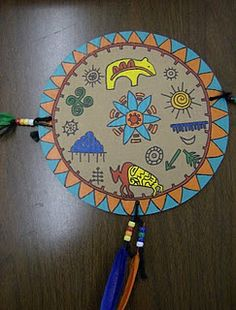 Native American shields tell stories of their creators experiences with nature...these were made using cardboard and paint.