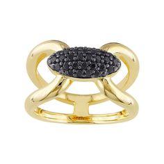 V19.69 Italia 18k Gold Over Silver Black Sapphire Ring, Women's, Size: 7