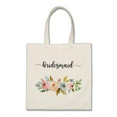#shower - #Bridesmaid Watercolor Floral Tote Bag