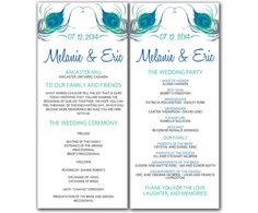 DIY Peacock Wedding Program Microsoft Word Template - Peacock Feathers Ceremony Program - Printable Tea Length Blue Green Wedding Program by PaintTheDayDesigns, $9.00