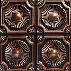 From Plain To Beautiful In Hours Whirligigs 2 ft. x 2 ft. Glue Up PVC Ceiling Tile in Antique Copper sq. - The Home Depot Faux Tin Ceiling Tiles, Tin Tiles, Copper Ceiling, Ceiling Grid, Ceiling Panels, Raku Pottery, Art Nouveau, Art Deco, Covering Popcorn Ceiling