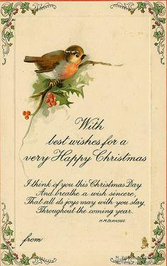 #christmas card, #vintage, #bird