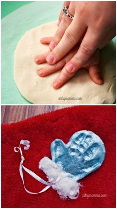 Simple Salt Dough Mitten Ornament Keepsake - and such a cute keepsake for Christmas! Capture the memory of tiny hands with this Salt Dough Mitten Ornament Keepsake and recipe! Makes a darling Christmas Gift. Preschool Christmas, Toddler Christmas, Babies First Christmas, Christmas Crafts For Kids, Baby Crafts, Homemade Christmas, Toddler Crafts, Holiday Crafts, Homemade Ornaments