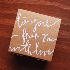 Wrap a gift in plain paper then write your message on it in a lovely script  -- diy #giftwrap