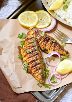 Tandoori Fish – Tikka Fish Recipe Delicious grilled Tandoori Fish / Fish Tikka for all Tandoori and Fish lovers! Try these awesome flavors. Grilling Recipes, Seafood Recipes, Indian Food Recipes, Chicken Recipes, Cooking Recipes, Ethnic Recipes, Fried Fish Recipes, Tandoori Fish, Tandoori Masala