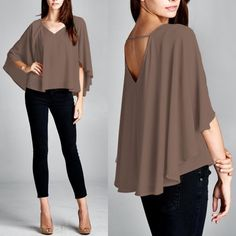 XX CALIZA soft flutter top - MOCHA LAYERED BLOUSE. SOLID BELL SLEEVE LOW BACK TOP  100% POLYESTER How darling is this soft beauty? ‼️PLS SEE PIC 4 for actual color‼️ Made in USA. NO TRADE, PRICE FIRM Tops