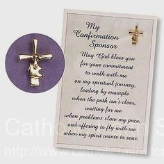 A wonderful way to say thank you to the Confirmation Sponsor! Confirmation Sponsor Pin and Card : AB1128 #catholicfaithstore