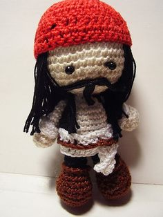 Pirates of the Caribbean - Jack Sparrow Crochet Doll