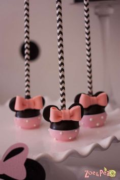 Cute cake pops at a Minnie Mouse in Paris Birthday Party!  See more party planning ideas at CatchMyParty.com!