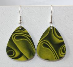 Guitar Pick Earrings Olive Green Handmade From Upcycled Gift Card