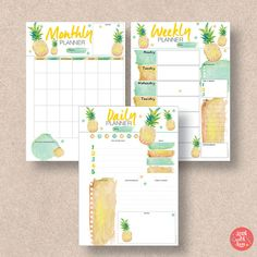 Packed with value, this pineapple 3 pack comes in A5/A4/Letter/Half sizes. Download the PDF planner printable containing your Summer themed Monthly Calendar, Weekly Planner and Daily Schedule. For more planner printables, visit us at http://www.etsy.com/shop/stickwithsam | Monthly Planner Organization | Weekly Planner Filofax | Daily Planner Inspiration | Daily Planner Student | Printable Planner | Printables