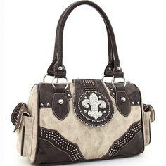 Rhinestone Adorned Shoulder Bag Fleur de Lis Accent & Croco