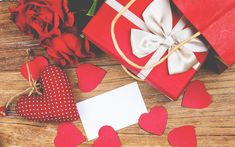 Download wallpapers Valentines Day, February 14, red heart, gifts, romance