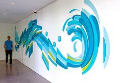 Wall graphics design 63 ideas for 2019 Corporate Interiors, Office Interiors, Design Stand, Illusion Kunst, Office Mural, Window Graphics, Office Wall Graphics, School Murals, Environmental Graphic Design