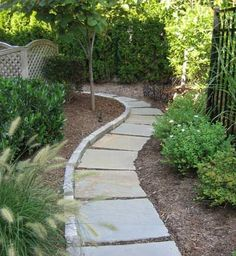 http://www.landscape-design-advice.com/stone-walkways.html An inexpensive stone walkwayr idea using geometric bluestones.