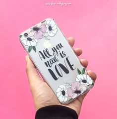 Clear TPU Case Cover - All You Need Is Love (floral) – Milkyway