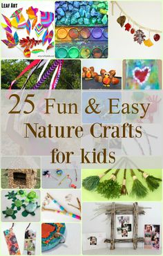 25 fun nature crafts for kids! Great when hiking or going to the beach, use items then for a craft project.