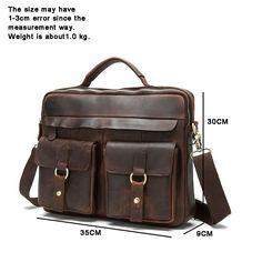 4dff3206bf69 Travables Men s Genuine Leather Vintage Laptop Briefcase Messenger Tote  Shoulder Satchel Bag Handbag (Coffee)