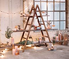 Deko Holzleiter mieten in Köln Diy Lazy Susan, Minimal Living, Wooden Ladder, Diy Wedding Decorations, Ladder Bookcase, Decoration Table, Muted Colors, Mosaic Glass, Rustic Style