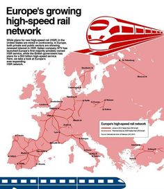 US High Speed Rail Association is dedicated to the rapid development of a national, state-of-the-art high speed rail network across America. European Integration, High Speed Rail, British Government, Speed Training, By Train, Train Travel, Infographic, United States, How To Plan