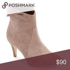"""Jeffrey Campbell Sonika Asymmetrical Cuff Bootie New With box! Size 6.5. Retail $195. Taupe in color. A smart almond toe and a low tapered heel balance a contrast cuff that folds over the heel of this sleek uptown bootie. 3"""" heel (size 8.5) 5"""" shaft Pull-on style Leather upper and lining/synthetic sole Jeffrey Campbell Shoes Ankle Boots & Booties"""