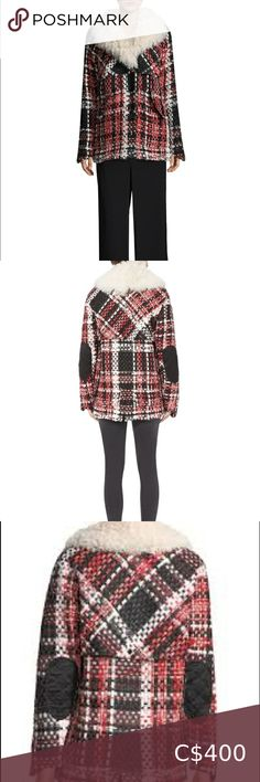 """Rag & Bone Antoine Weave Fur-Trimmed Plaid Jacket ✨Absolute Stunning✨ Rag & Bone Wool-blend jacket features: shearling collar detail Distressed frayed threading throughout coat Shawl collar Long sleeves Elbow patches Front snap closure Chest buttoned flap pockets Side buttoned flap pockets Boxy-fit About 26"""" from shoulder to hem, Wool/cotton/polyurethane/polyester/viscose/acrylic/polyamide, Fur type: Dyed lamb, Fur origin: Spain, Spot clean, Made in USA of imported fabric; RED MULTI Love ❤️… Bomber Coat, Satin Bomber Jacket, Lace Jacket, Collarless Denim Jacket, Sherpa Lined Denim Jacket, Hot Pink Blazers, Black Lace Bralette, Elbow Patches, Fur Trim"""