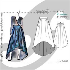 Flared Maxi Skirt with Dropped Hem & Side Pockets/ Digital PDF Sewing by mc2patterns