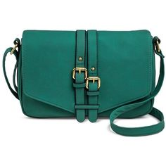 Women's Vertical Buckle Detail Crossbody Handbag Green - Merona,... ($30) ❤ liked on Polyvore featuring bags, handbags, shoulder bags, purses, blue purse, crossbody handbags, shoulder handbags, man bag and blue shoulder bag