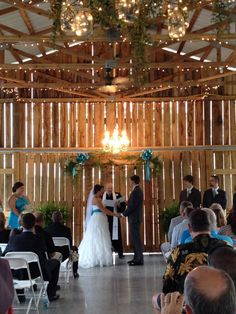 Ceremony inside at Events at East 96 country barn wedding